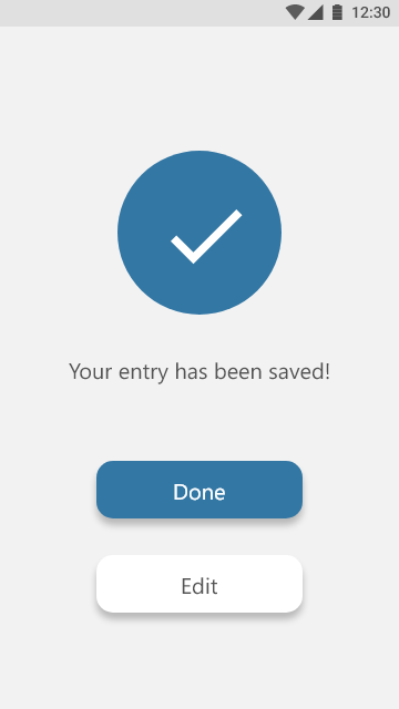 Entry Save confirmation daytime